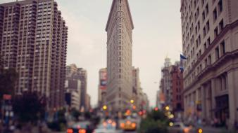Cityscapes traffic new york city bokeh flatiron building wallpaper
