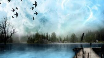 Clouds nature digital art birds sea wallpaper