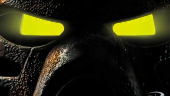 Eyes yellow masks infected bionicle legos toys wallpaper