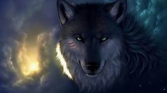 Fantasy art wolves wallpaper