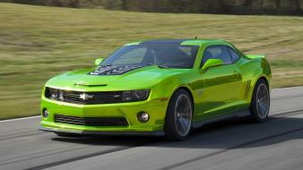 Green muscle cars chevrolet camaro hdr photography widescreen Wallpaper