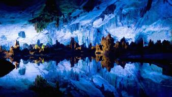 Landscapes nature cave china flute reed crystal palace wallpaper
