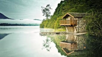 Landscapes trees dock houses lakes reflections wallpaper