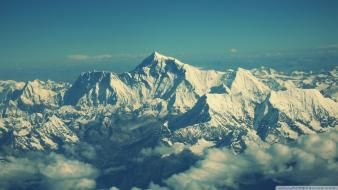 Mountains nature snow mount everest watermark view skies Wallpaper