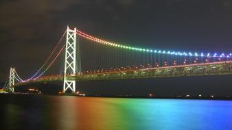 Night bridges buildings rainbows city lights wallpaper