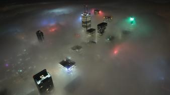 Night fog canada skyscrapers toronto nightlights wallpaper