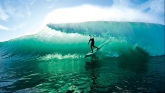 Ocean waves surfing tunnels crystals surfers skies wallpaper
