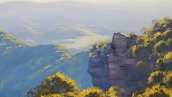 Paintings blue mountains wallpaper