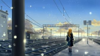Paintings clouds snow long hair railroad tracks scarfs wallpaper