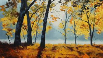 Paintings landscapes nature trees autumn (season) drawings wallpaper