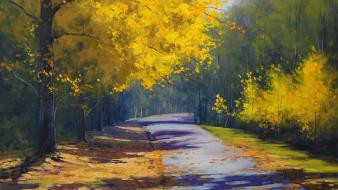 Paintings landscapes nature trees autumn (season) roads drawings wallpaper