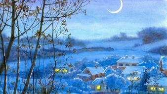 Paintings landscapes snow night moon drawings village Wallpaper