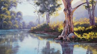 Paintings trees gum australian wallpaper