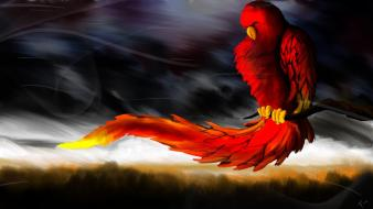 Red artistic birds wind wallpaper