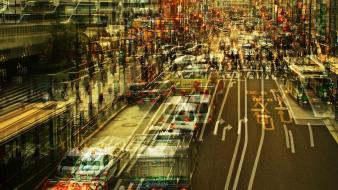 Roads artwork cities multiple exposure stephanie jung Wallpaper