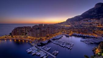 Sunset boats monaco cities wallpaper