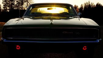 Sunset cars muscle dodge charger r/t black Wallpaper