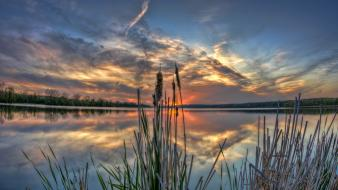 Sunset landscapes nature usa reflections illinois wallpaper