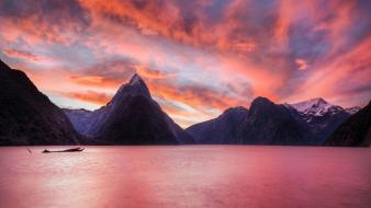 Sunset mountains landscapes nature new zealand lakes wallpaper