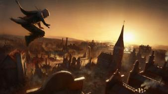 Sunset video games assassins creed buildings jump wallpaper