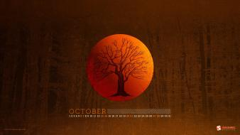 Trees forest moon woods calendar october smashing magazine wallpaper