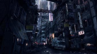 Video games futuristic roads artwork cities wallpaper