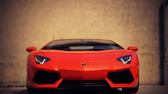 Wall cars lamborghini aventador red front view Wallpaper