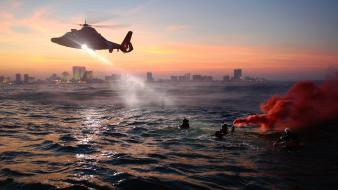 Water military helicopters coast guard sea wallpaper
