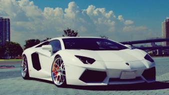 White italy lamborghini aventador luxury wallpaper