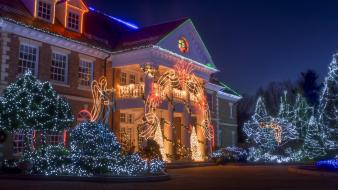 Winter houses christmas lights farm wallpaper