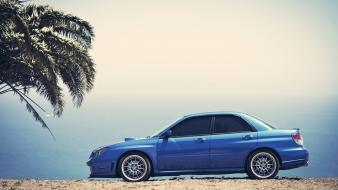 Beach cars palm trees subaru impreza blue sea wallpaper
