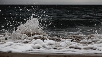 Beach waves foam water drops seascapes splashes wallpaper