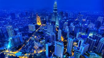 Blue cityscapes buildings skyscrapers petronas towers malasya Wallpaper