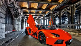 Cars orange lamborghini aventador exotic wallpaper
