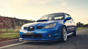 Cars roads subaru impreza wrx blue wallpaper