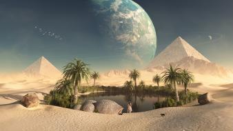 Cats planets desert oasis artwork pyramids wallpaper
