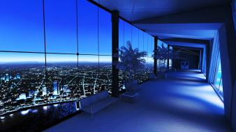 Cityscapes night mirrors edge interior window panes cities wallpaper