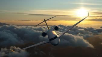 Clouds sun aircraft wallpaper