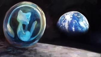 Earth bubbles mew digital art artwork legendary Wallpaper