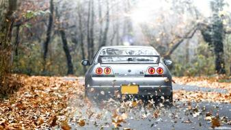 Forest cars leaves roads nissan skyline r33 gt-r wallpaper