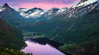 Mountains landscapes nature norway rivers fjord geiranger geirangerfjord wallpaper