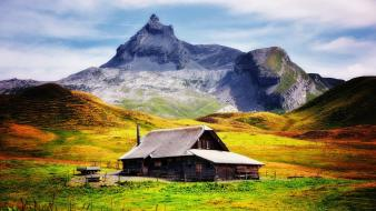 Mountains lifestyle old house wallpaper