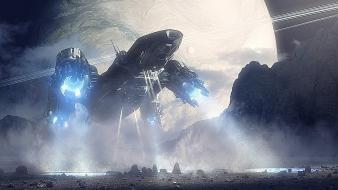 Movies planets prometheus spaceships science fiction photomanipulation wallpaper