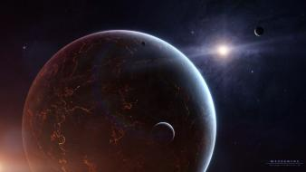 Outer space stars planets digital art moons wallpaper