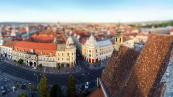Romania cities miniature effect wallpaper