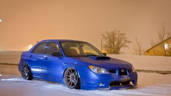 Snow cars blue stance subaru impreza wrx sti wallpaper