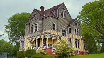 Usa oregon victorian houses wallpaper
