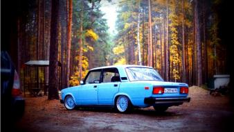 Vehicles lada 2107 blue russian oldie russians wallpaper