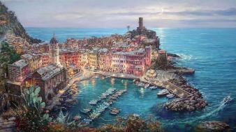 Vernazza skies sea cao yong moonlight in wallpaper