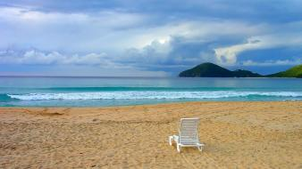 Water clouds beach chairs wallpaper